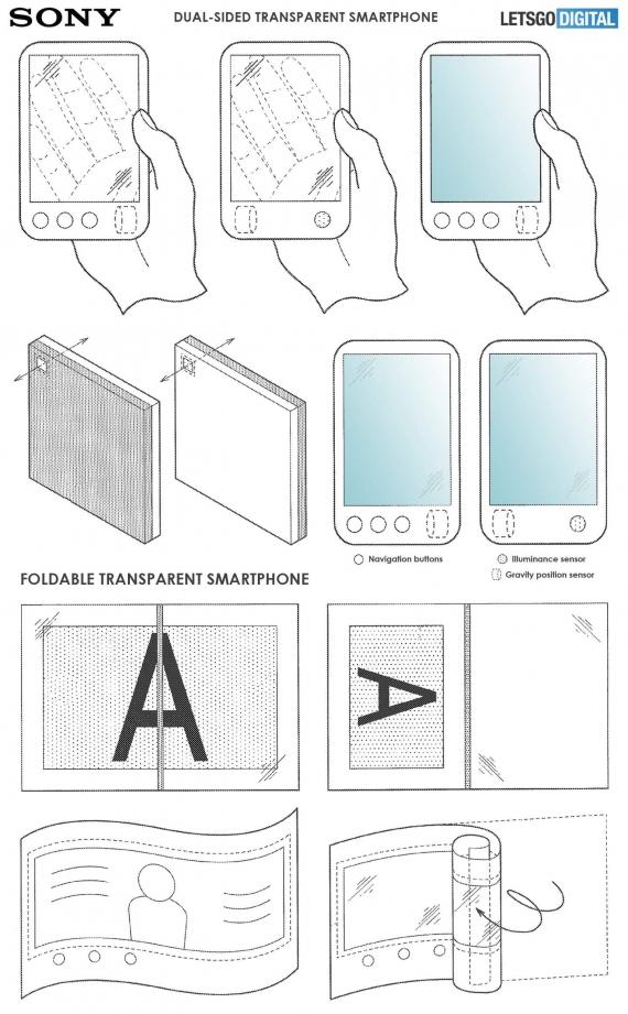 Sony запатентовала гибкие смартфоны с прозрачным экраном2
