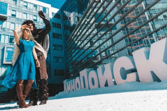 К офису «Яндекса» привезли снег в честь выхода «Игры престолов»2