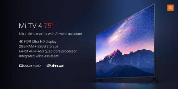 Xiaomi презентовала 75-дюймовый Mi TV 4 и шлем Mi VR Standalone1