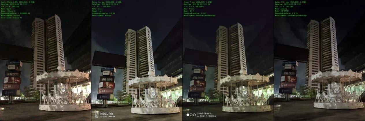 Сравнение ночного режима камеры Meizu 16s с iPhone, Samsung и Xiaomi1