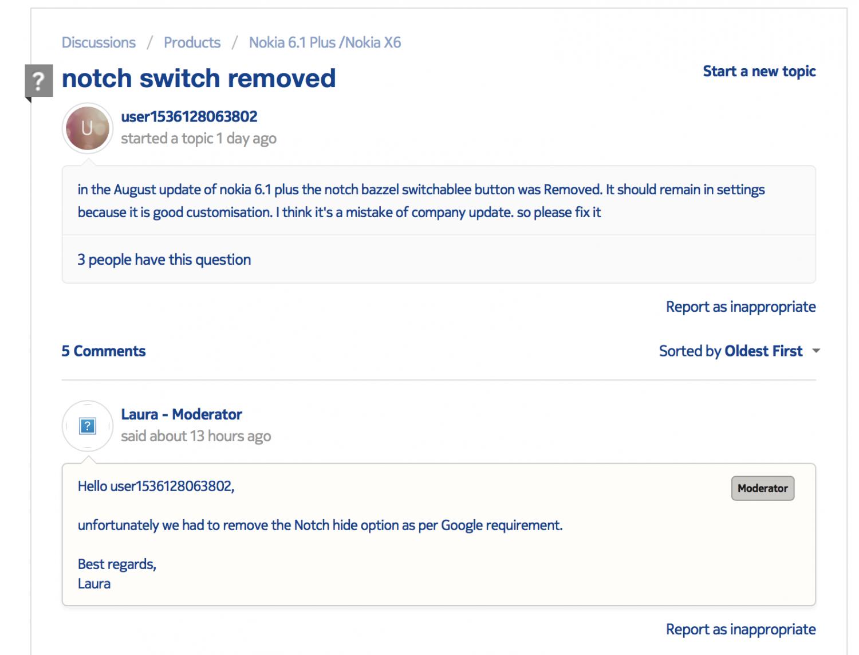 Google не удаляла скрытие «брови» в Nokia 6.1 Plus1