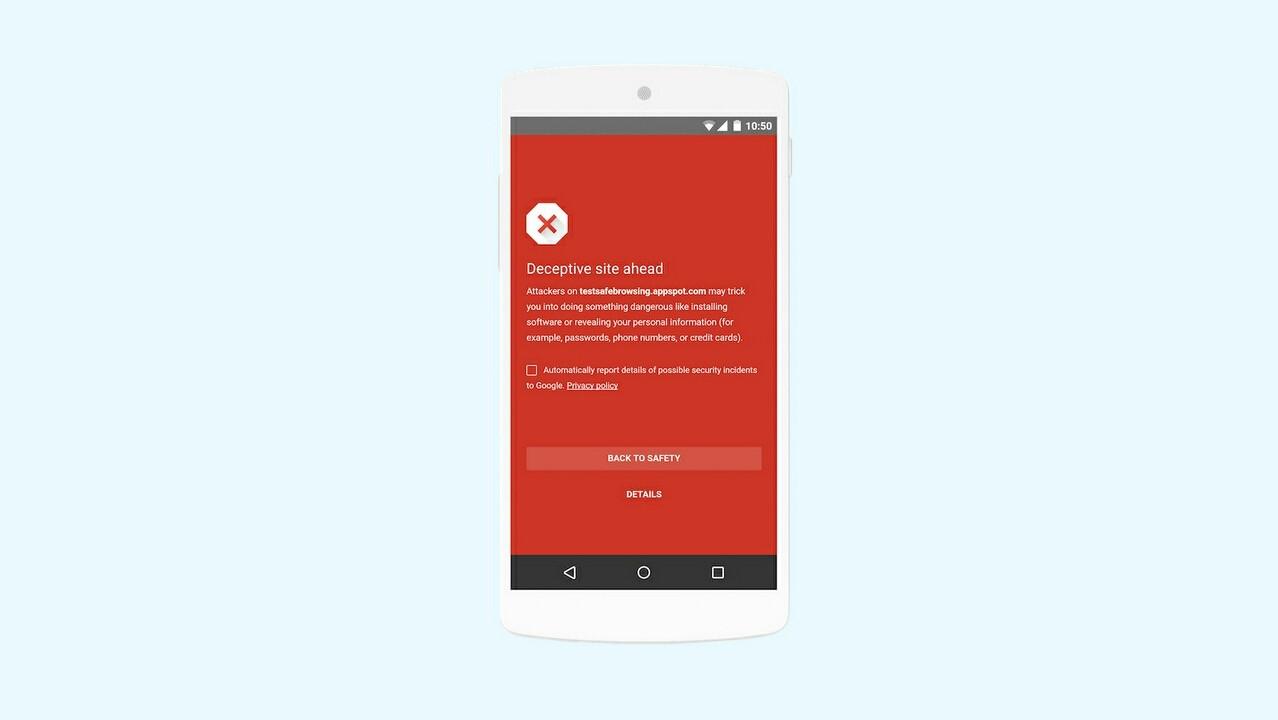Технология Google Safe Browsing теперь работает в Android-приложениях
