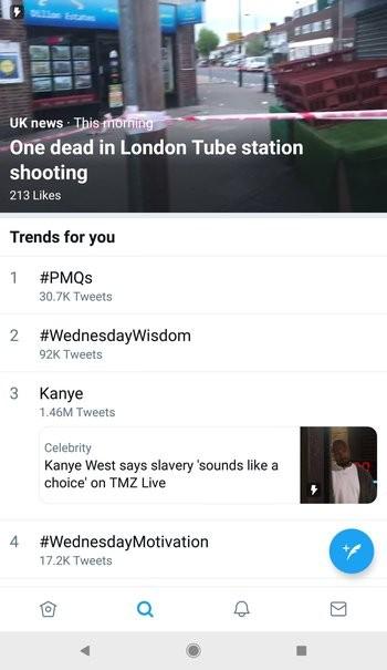 Twitter тестирует нижнюю навигационную панель в приложении для Android1