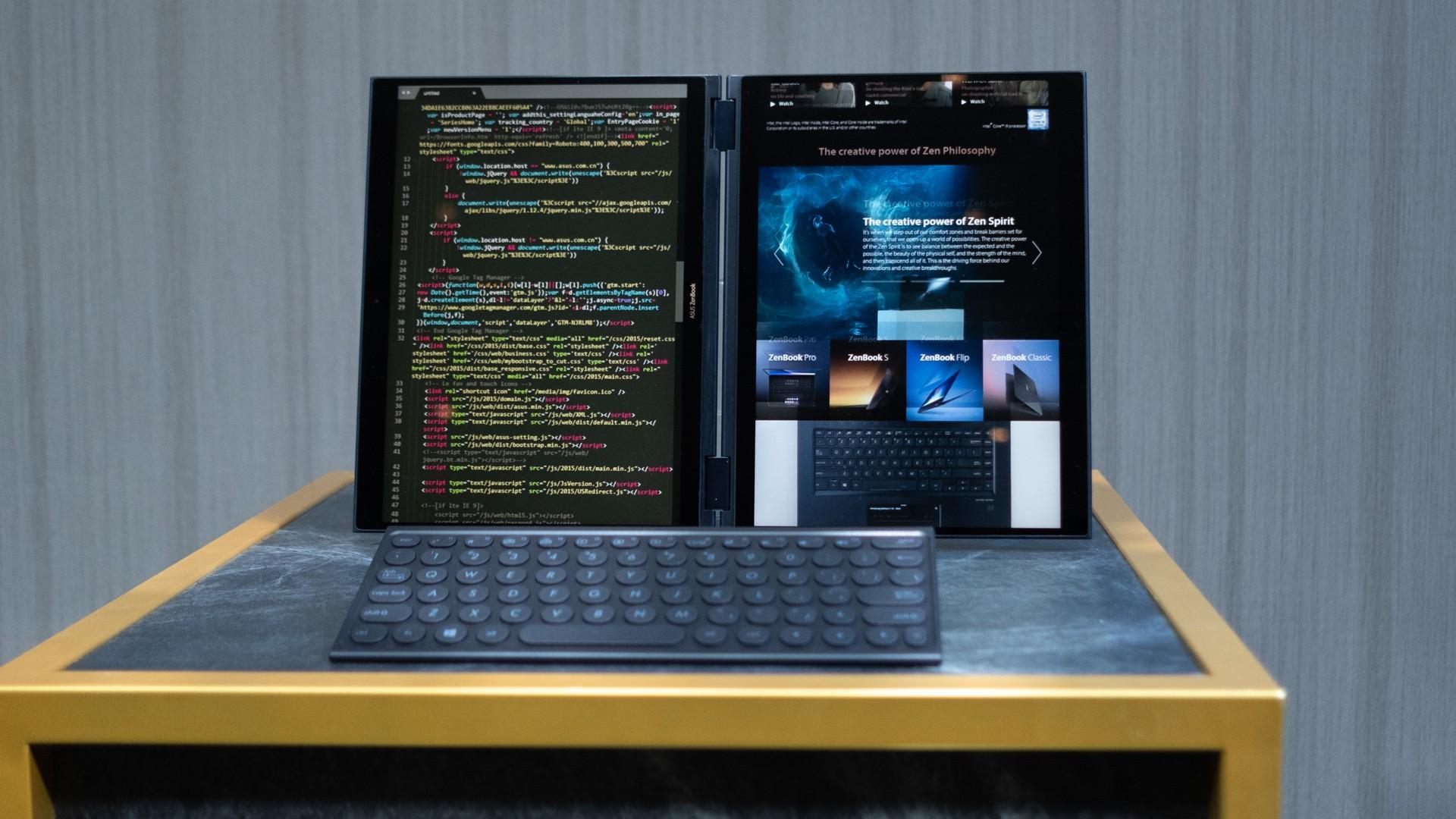 Asus представила ноутбук с двумя дисплеями