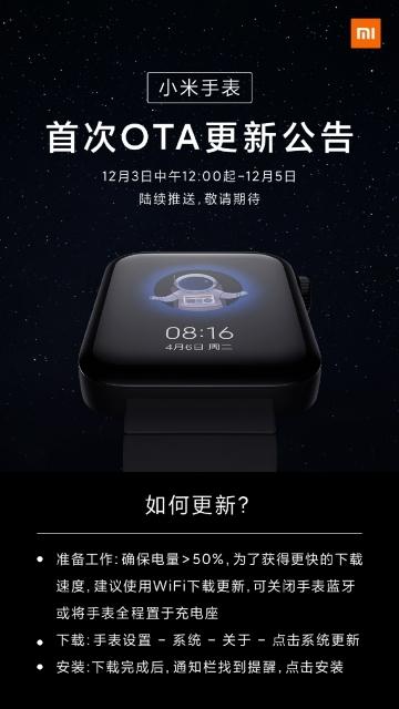 Xiaomi выпустила первое обновление для Mi Watch1
