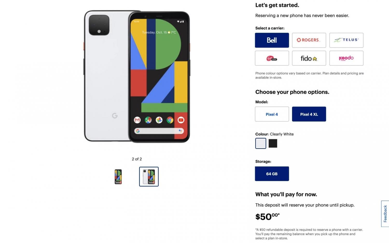 Канадская сеть раскрыла характеристики Google Pixel 4 и Pixel 4 XL4