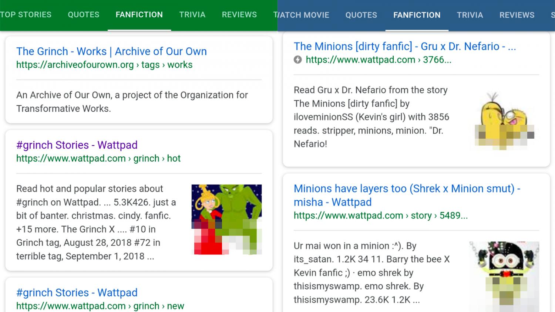 Google убрала из поиска вкладку с фанфиками из-за «нежелательного контента»1