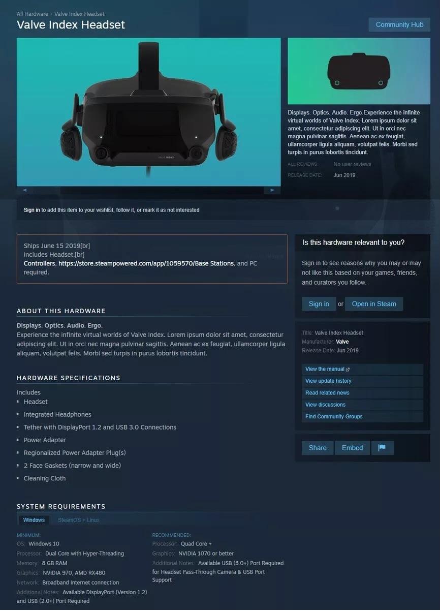 Valve Index: технические характеристики и дата релиза1