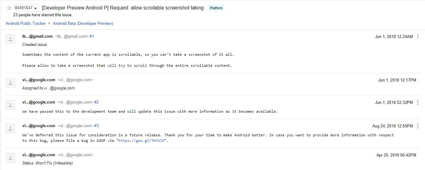 Google считает невозможным внедрение «длинных» скриншотов в Android1