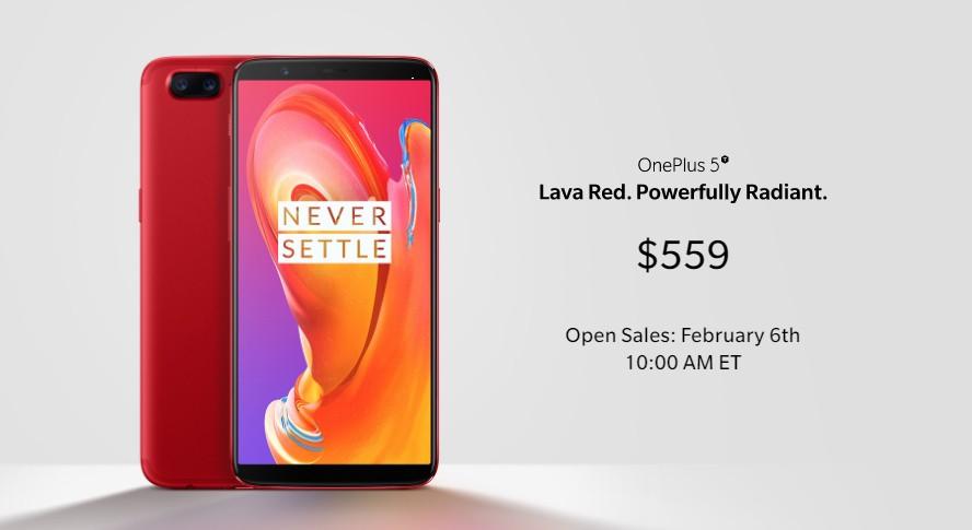 Продажи OnePlus 5T Lava Red начнутся во всём мире 6 февраля1