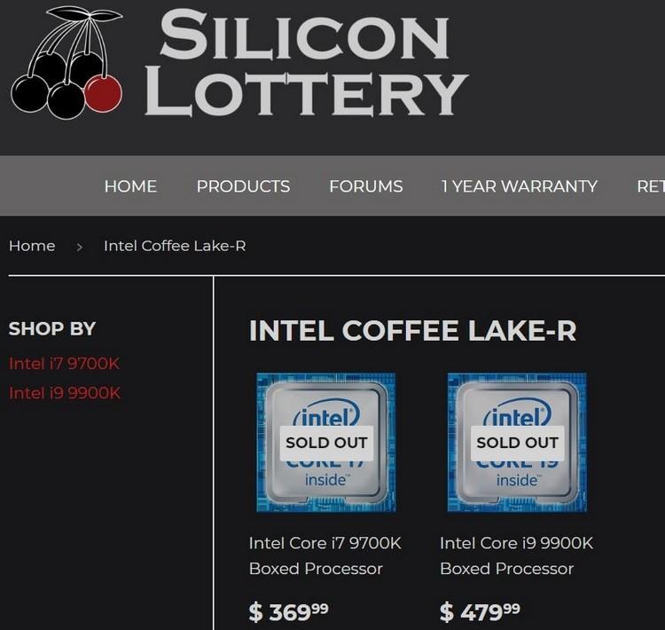 Intel Core i9-9900K оценён в 480 долларов1