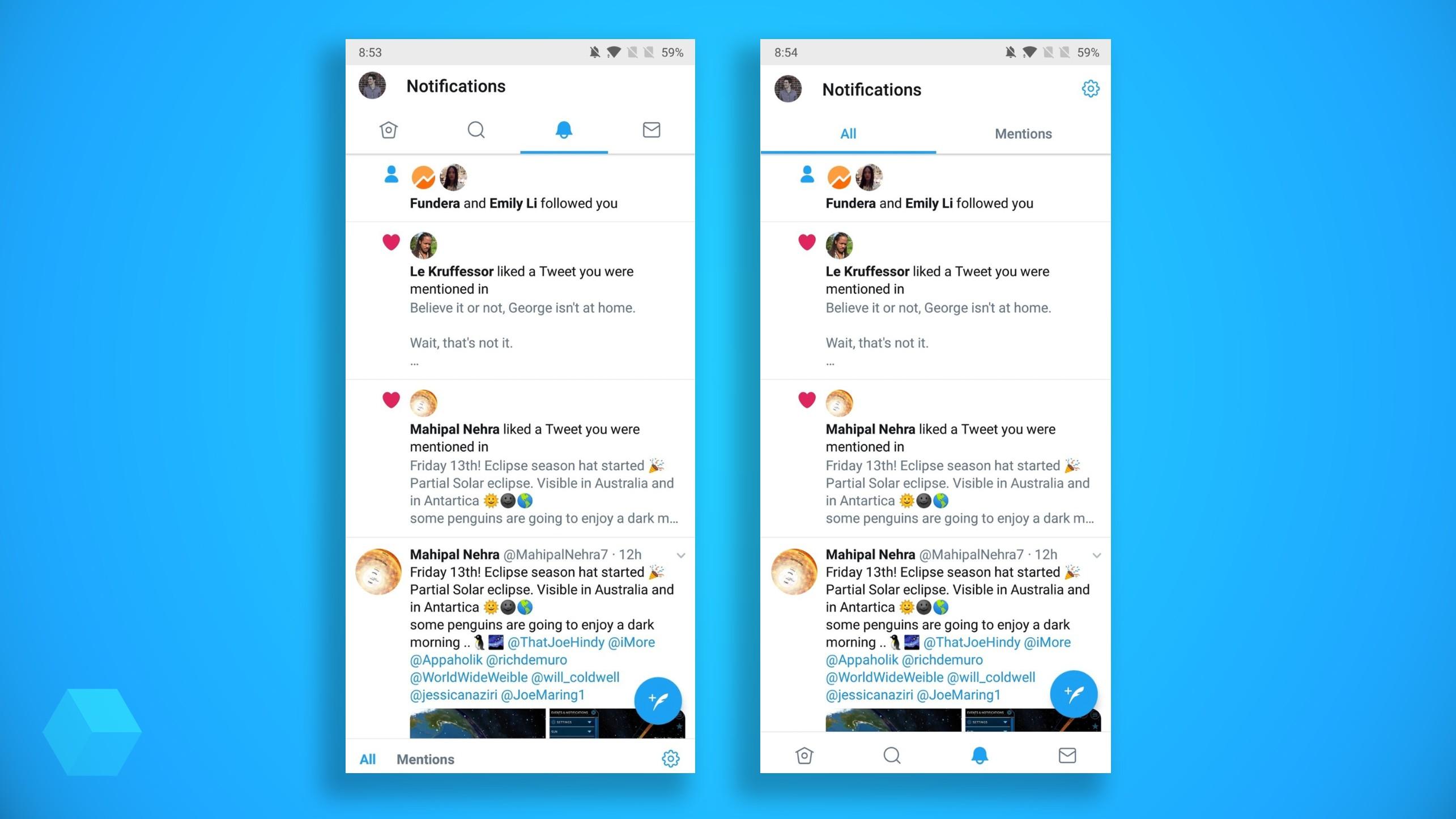 Нижняя панель навигации Twitter появилась в Android
