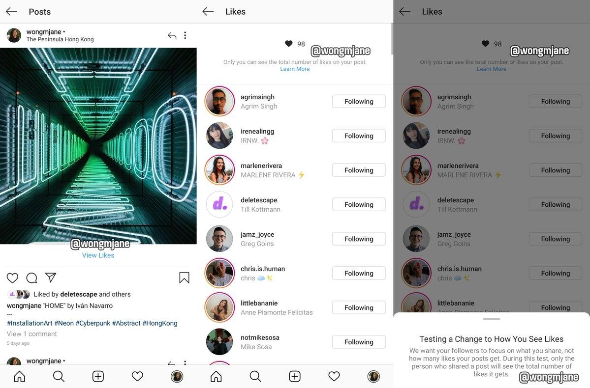 Instagram тестирует функцию скрытия количества лайков1