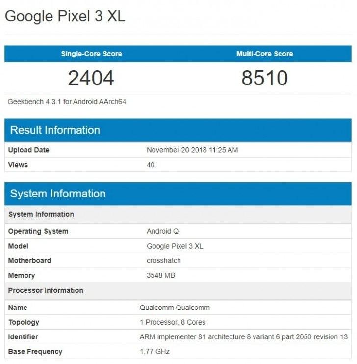 Google Pixel 3 XL с Android Q отметился в GeekBench1