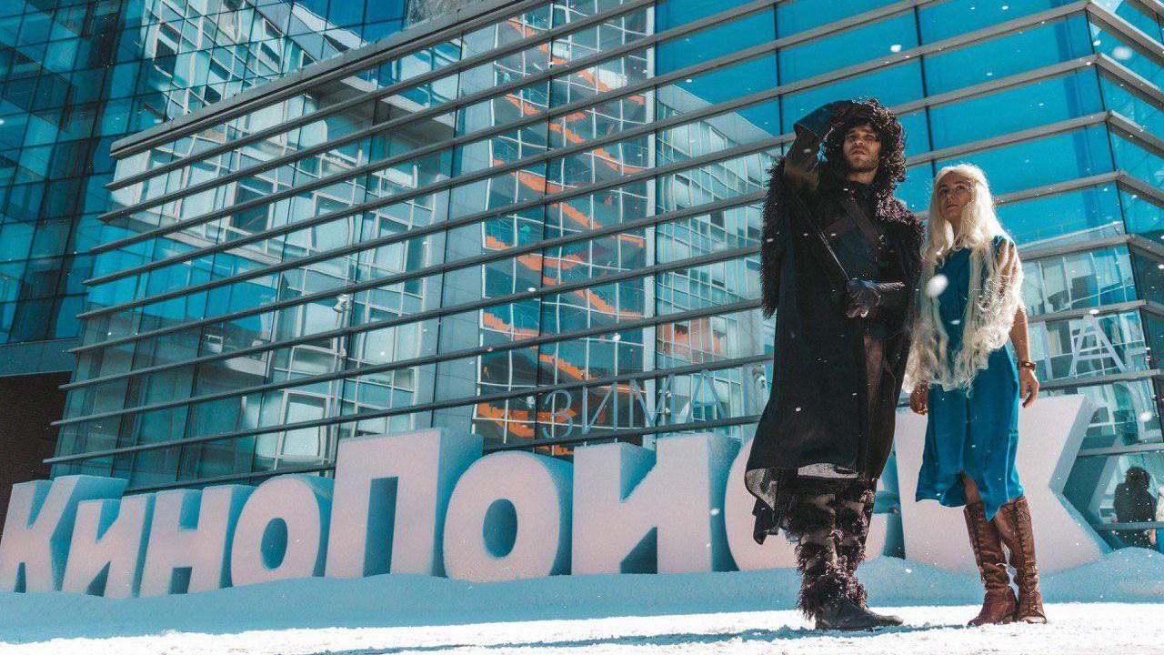 К офису «Яндекса» привезли снег в честь выхода «Игры престолов»